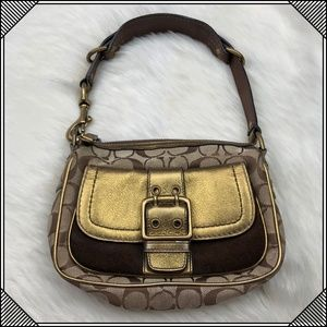 * Coach Gold Leather Handbag Purse Special Edition
